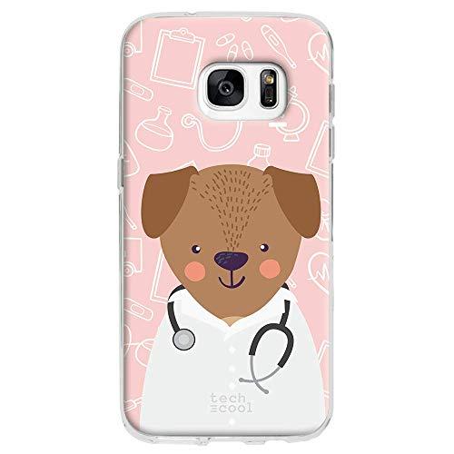 Funnytech Custodia in Silicone (TPU) per Samsung Galaxy S7 [Design Esclusivo, Stampa ad Alta Definizione] Cover, Case [Profesiones Mascotas Médico Fondo]