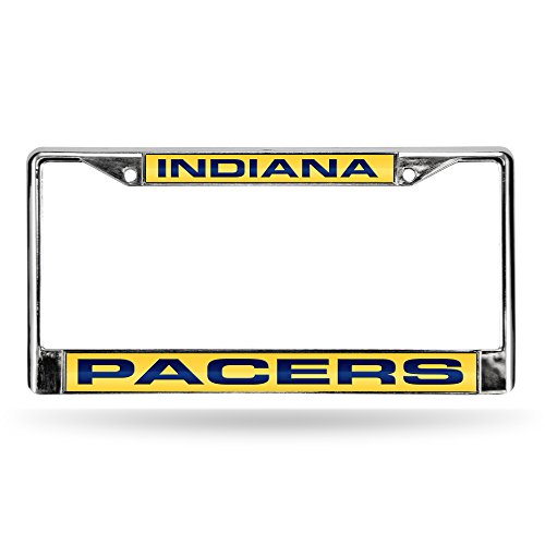 NBA Indiana Pacers Laser Cut Inlaid Standard Chrome License Plate Frame, Chrome