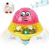 YUIP Artículos de Baño Bola de Rociado de Agua, Juguete Sensorial de Rociado de Agua 2 en 1 con Luces LED de Música y Juguete de Platillo Espacial Automático, Artículos de Baño para Niños Pequeños