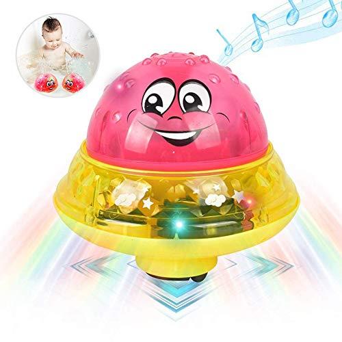 Artículos de Baño Bola de Rociado de Agua, Juguete Sensorial de Rociado de Agua 2 en 1 con Luces LED de Música y Juguete de Platillo Espacial Automático, Artículos de Baño Para Niños Pequeños