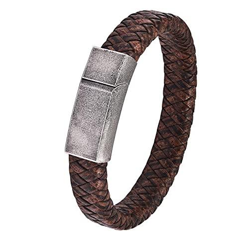 XiaoYing Pulsera de cuero vintage para hombre con hebilla magnética de acero inoxidable para regalo (color : B, longitud: 22 cm)
