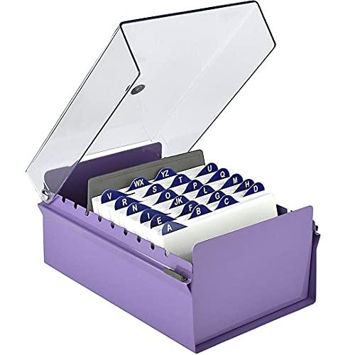 """Acrimet Fichero Tarjetero 4"""" X 6"""" Organizador de Tarjetas con Divisor y Indice A-Z incluidos (Índice A-Z 155mm X 115mm) (Base de Metal Resistente Color Morado y Tapa de Plástico Transparente)"""