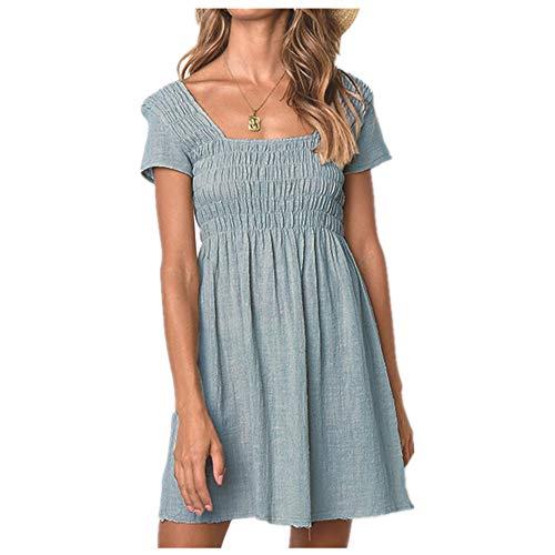 Vestido de manga corta de algodón para mujer