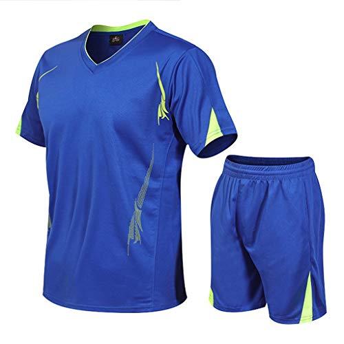 Trainingsanzüge Herren Casual Fitness Sport Jogging Schnelltrocknender Elastischer Kurzarm T-Shirts Shorts Sportswear-Sets Große Größen Sportanzug, Blau, XXX-Large