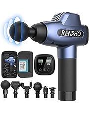 Renpho massagepistool, spiermassageapparaat met 20 snelheden en 6 massagekoppen, massageapparaat voor fitnessstudio, kantoor, thuis, na de training en sporters, blauw