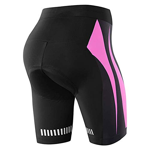 NOOYME Cycling Shorts for Women 4D Padded Cycle Shorts Women, Quick Drying Womens Cycling Shorts Bike Shorts for Women with Anti-Slip and Reflectives Logo Design Ladies Cycle Shorts Pink