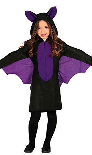 Guirca Fledermaus-Kleid für Mädchen Halloween-Kostüm schwarz-lila - 110/116 (5-6 Jahre)