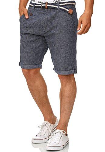 Indicode Herren Cuba Chino Shorts mit 5 Taschen inkl. Gürtel aus 100% Baumwolle | Kurze Hose Regular Fit Bermudas Sommerhose Herrenshorts Short Men Pants Chinohose für Männer Indigo Blue M
