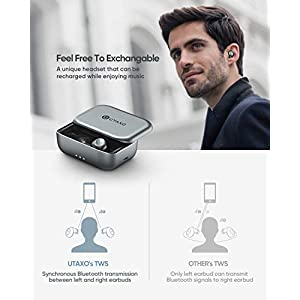 Wireless Earbuds,Bluetooth Earbuds 5.0 in-Ear Stereo Headphones with 2200mAh Slide Aluminum Charging Case,Bluetooth Earbuds IPX7 Waterproof,Free to Switch Single/Twin Mode with 100Hours Playtime Utaxo