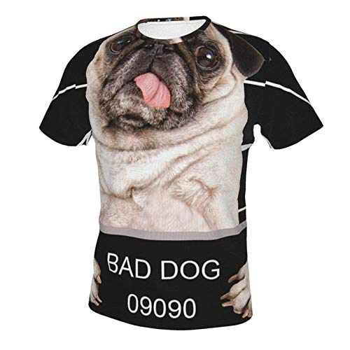 Basic Short Sleeve T-Shirts Tops for Youth & Adult Men Boys, Big and Tall Size Bad Dog Police Dept 2XL