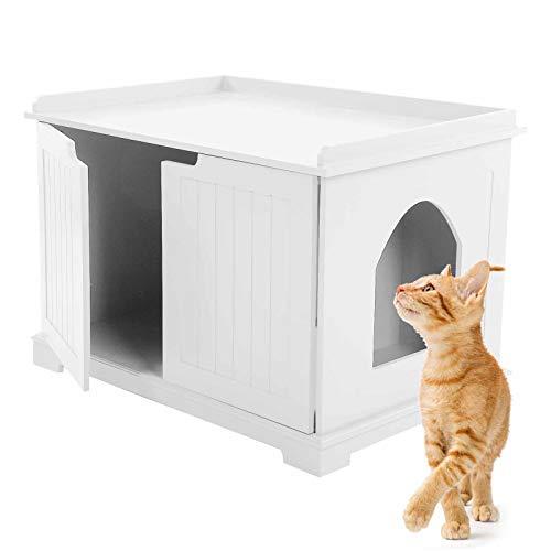 Caja de Arena para Gatos, Casa de Madera para Gatos Recinto, 75 x 51 x 52 cm(Blanco)