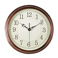 CLOCK HAOFAY Mute Wall, 20-inch Retro European Wood, Modern Arabic Numerals Simple Living Room Decoration Table (Color : Wood, Size : 41cm)
