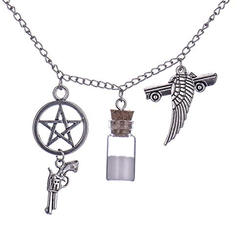 Supernatural Inspired Salt Bottle Protection Charm Necklace Pendant - Stainless Steel Chain