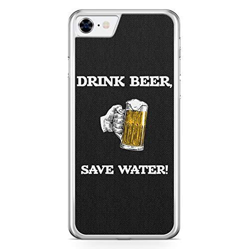Drink Beer, Save Water - Hülle für iPhone 8 - Motiv Design Spruch Lustig Cool Witzig Jungs Männer Bier - Cover Hardcase Handyhülle Schutzhülle Hülle Schale