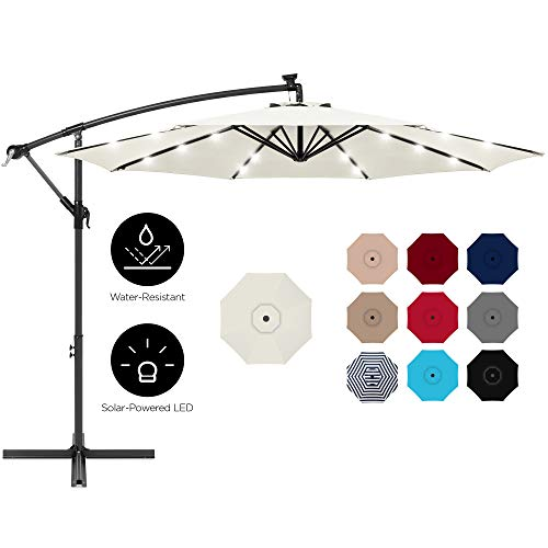 Best Choice Products 10ft Solar LED Offset Hanging Outdoor Market Patio Umbrella w/Easy Tilt...