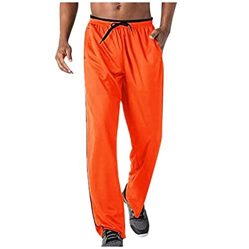 WXZZ Pantalones de chándal para hombre con bolsillos con cremallera, ligeros, de secado rápido, con cintura elástica, transpirables., naranja, M