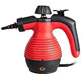 COSTWAY Limpiador de Vapor Portátil con 9 Accesorios y Tanque de Agua de 350 ml, Limpiador a Vapor para Hogar Coche Veranda Patio (Rojo)