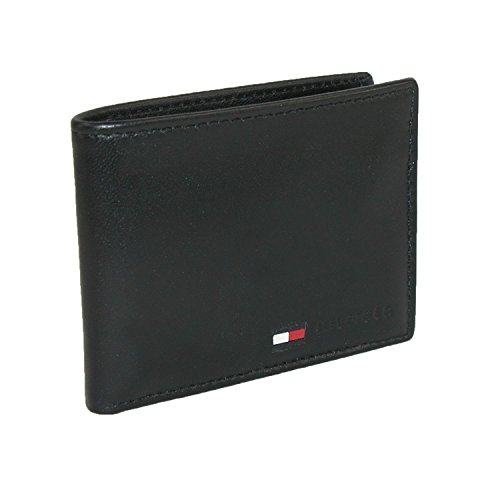 Tommy Hilfiger mensLeather Passcase Wallet Wallet - Black - One size