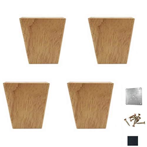 Chutd meubelpoten, 4 stuks, poten van massief hout, poten van eikenhout, poten voor tv-meubels, poten voor banken, commode, bijzettafel, bedkruk van hout, kleur 10 cm/3,9 cm