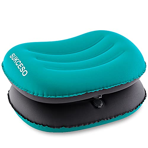 [2-PACK] Ultralight Inflatable Camping Pillow - Compressible, Compact, Comfortable for Sleeping While Traveling, Hiking, or Backpacking. Ergonomic Inflating Camping Pillows for Neck and Lumbar Support