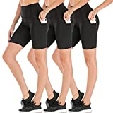 Dual Pocket High Waist Workout Shorts-Tummy Control Yoga Gym Running Pants,Non See-Through...
