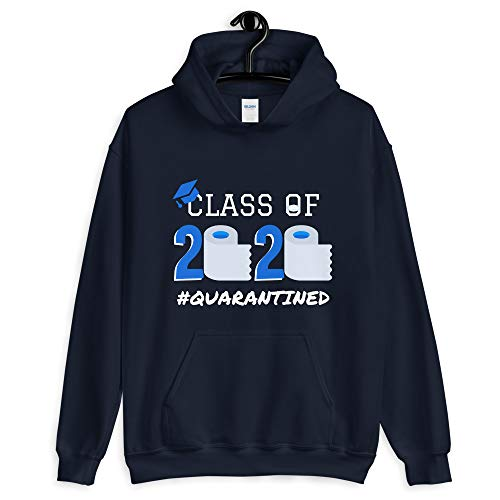 Delightful Gifts Galore Senior Class of 2020 Quarantined Hoodie Funny Graduation Gift Social Distancing Navy