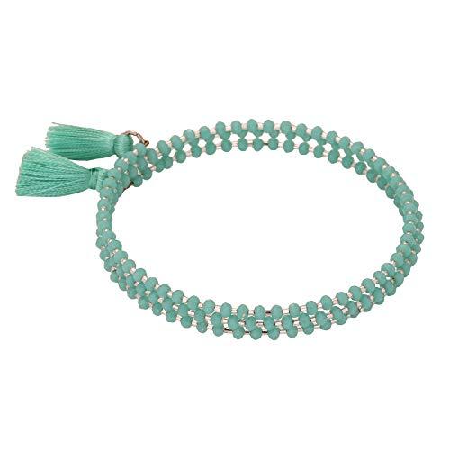 El Allure Preciosa Jablonex Seed Bead Navy Blue and Silver Japanese Cut Dana with Silk Thread Fringe Tassel Trendy Handmade Fine Bangle for Women.