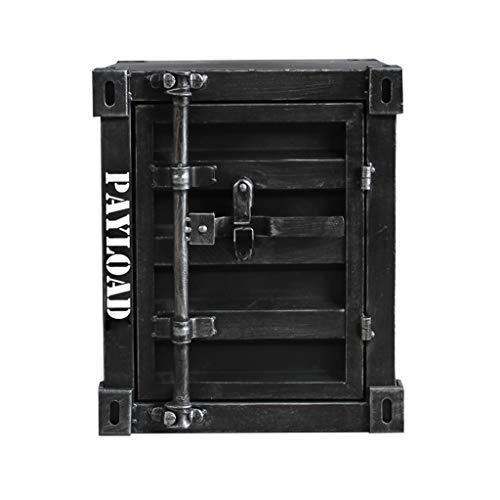 Comodino, Retro Loft Mobile Contenitore Creativo in Stile Industriale Armadietto Contenitore Soggiorno Divano Tavolo Tavolino Quadrato Tavolino Da Telefono Scrivania Tavolo Decorativo,Black b