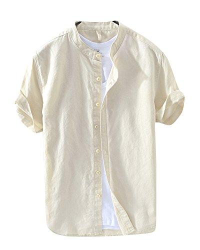Herren Kurzarm Einfarbig Leinen Hemd Kragenloses Hemd T Shirt Freizeit Hemden Kaki M