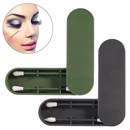 SUSSURRO 2 PCS Coton-tige Réutilisable Lavable,Bâtons de Coton Double Face Écologique Silicone, pour Maquillage et Nettoyage des Oreilles Outil de Beauté avec Étui de Rangement