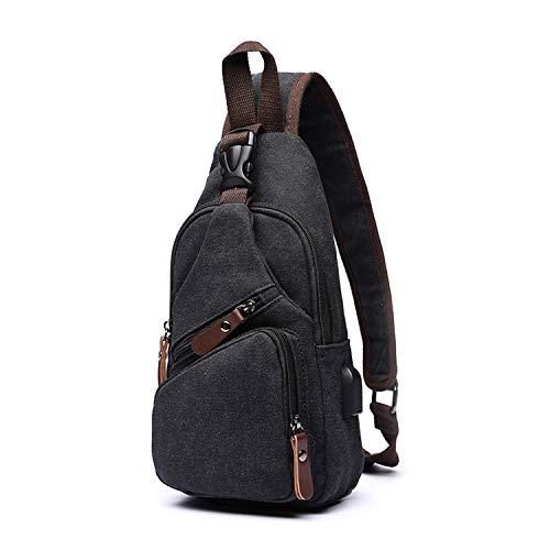 FANDARE Borsttas voor heren, schoudertas, slingbag, rugzak met USB-zeildoek, schoudertas, sporttas voor wandelen…