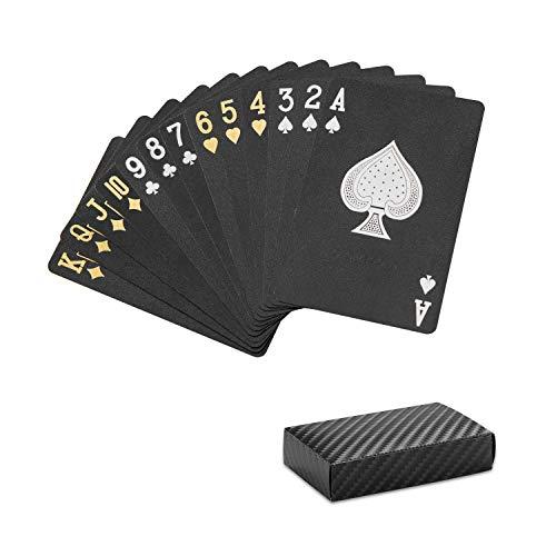 HARPIMER Cartas de póquer, Baraja Poker Plastico Negro - Resistente al Agua...