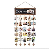 Bikoney Picture Frames Collage Photo Hanging Display Picture Board Wood Rustic Frames for Wall Decor with Blackboard and 30 Clips Carbonized Black