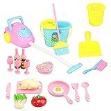 Miunana Lot 22 Haushalt Küche Zubehör Set für 11,5 Zoll Mädchen Puppen, Staubsammler, Mop, Geschirr, Essen für Puppen