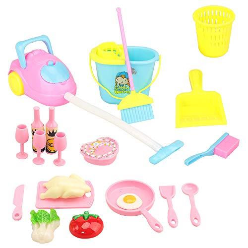Miunana 22 Accessori per 11.5 Pollici 28 -30 CM Bambola: 7 Pezzi da Pulizia + 15 Pezzi da Cucina
