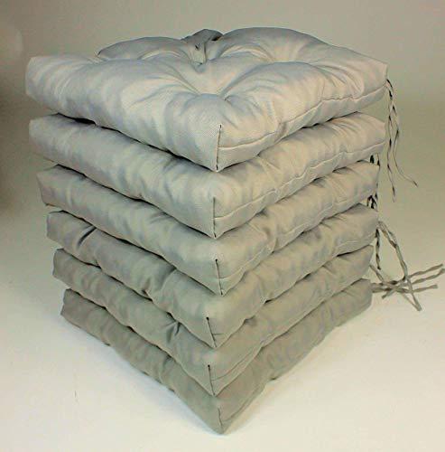 Rattani Set 6 x Stuhlkissen/Sitzkissen Klara 42 x 42 cm Dicke 8 cm, Fb. Soft Gray, Polyester