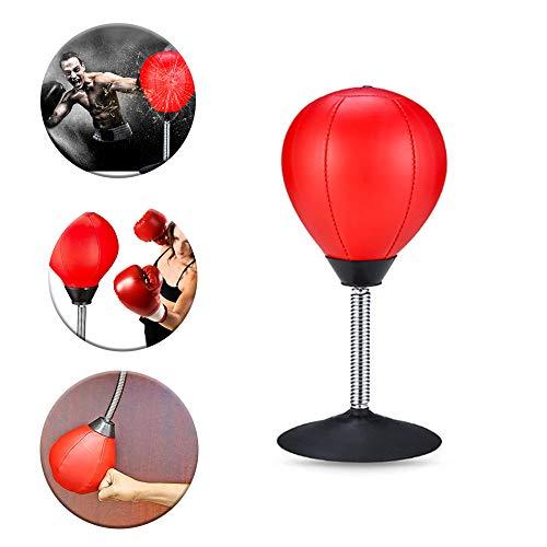 Watenkliy Punchingball Tisch, Schreibtisch Boxbirne Punching Ball im Büro zum Frustablassen und Stressabbau MIT Inflator