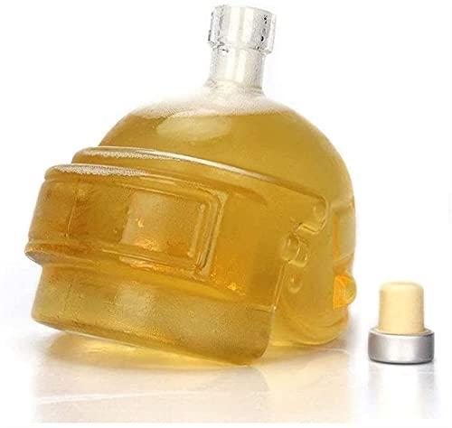 Jarra y Vasos de Whisky Hombres Grabados Vino Decantador Crystal Glass Jarrafe Casco único Diseño Decantador de Vino Botella for Whisky, Vodka, Accesorios de Vino Bar Tool Regalo