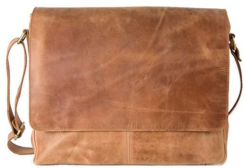HOLZRICHTER Berlin - Premium Umhängetasche (M) aus Leder - Handgefertigte Messenger Bag im Vintage Design - Ledertasche für Herren und Damen - Camel-braun