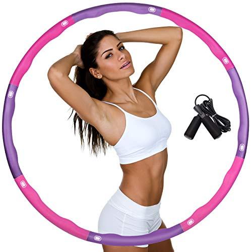 DUTISON Hula Hoop zur Gewichtsreduktion,Reifen mit Schaumstoff Gewichten Einstellbar Breit 48–95 cm beschwerter Hula-Hoop-Reifen für Fitness mit Springseil -Lila und Rosa