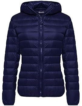 Wantdo Women s Packable Lightweight Warm Down Jacket Winter Coat Navy X-Large