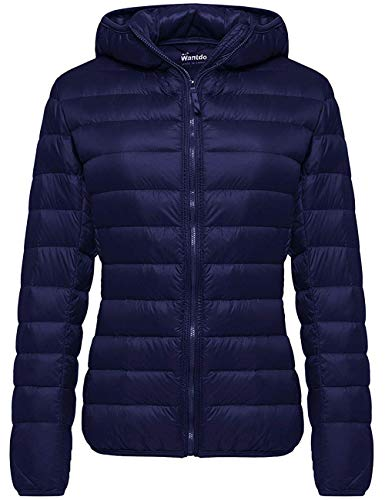 Wantdo Women's Warm Lightweight Winter Down Coat Packable Jacket Navy Small