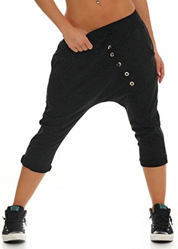Malito Damen Kurze Hose mit Knopfleiste | Chino Hose in Unifarben | Baggy zum Tanzen | Sweatpants - Trainingshose 8015 (schwarz)