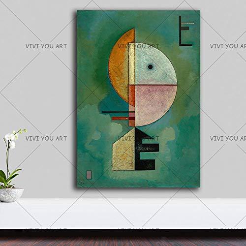 PVZADEW Cuadro en acrílico Pintura al óleo Hecha a Mano de la Lona, Arte Abstracto geométrico de Wassily Kandinsky, Cuadros de la Pared para la Sala de Estar, decoración casera de los Cuadros 100X