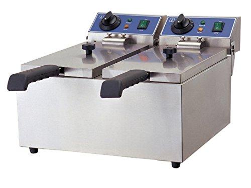 Profi Doppel-Fritteuse, Edelstahl, 4000 Watt, 12 Liter, Sicherheitsthermostat; WF-062 GGG