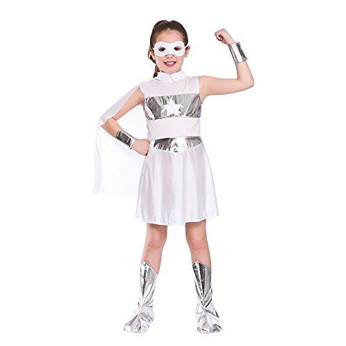 GIRLS WHITE AVENGING SUPER HERO FANCY DRESS COSTUME