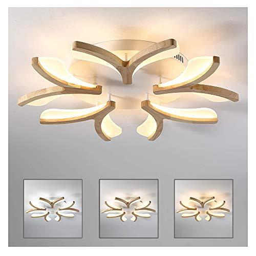 Led Deckenleuchte Holz Blume Form,Dimmbar UltradüNne Deckenlampe,5-Flammig, Modern Dekor Wohnzimmer Lampe,Weiß Acryl Schirm,Schlafzimmer Deckenlicht,3500 Lm,Ø70Cm Inkl Fernbedienung Decke Licht