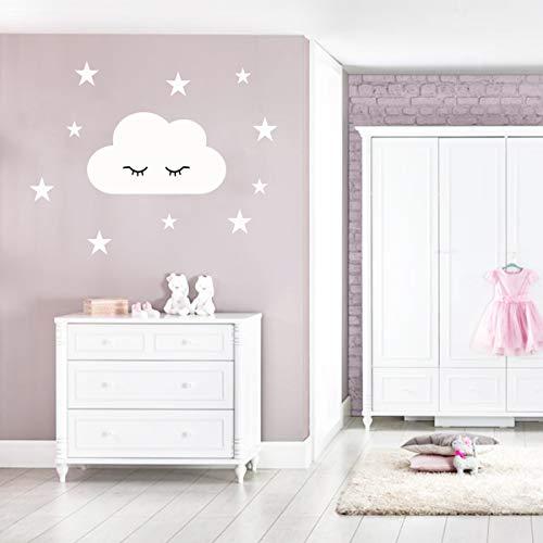 Wandtattoo schlafende Wolkenset mit Sterne und Wimpern Wandsticker (Wolke weiß/Sterne Weiß)