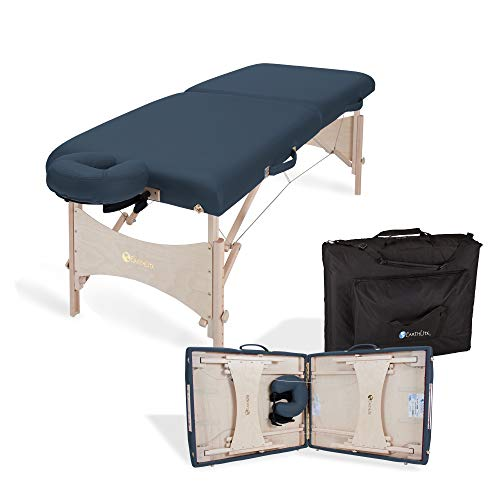EARTHLITE Portable Massage Table HARMONY DX – Foldable Physiotherapy Treatment Stretching Table, Eco-Friendly Design, Hard Maple, Superior Comfort incl. Face Cradle & Carry Case (30  x 73 )