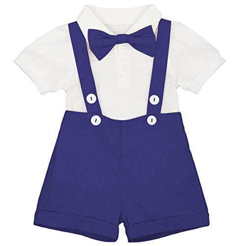 Neonato Bambino Gentleman Smoking Papillon Pagliaccetto+Bretella Pantaloncini Primo Compleanno Partito Vestiti Battesimo Abito Da Sposa, Blu reale, 0-6 Mesi